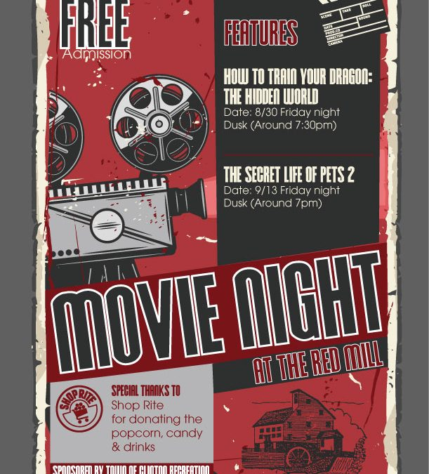 Kids Movie Nights: Friday August 30th and Friday September 13th